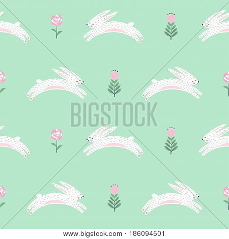 Easter bunny with spring flowers seamless pattern on green background. Cute scandinavian style holiday background. Cartoon baby rabbit illustration. Easter design for textile, fabric, decor.