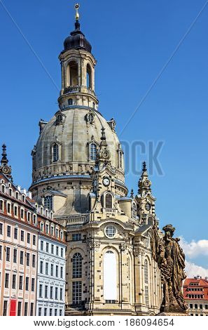 Dresden, Germany. Frauenkirche Cathedral church building architecture