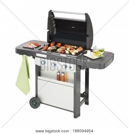 Bbq Grill Isolated On White Background. Barbecue Gas Grill With Food. Stainless Steel And Black Bbq