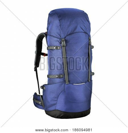 Blue Trekking Rucksack Isolated on White Background. Travel Backpack. Climbing Bag. Bouldering Day Pack. Rope Bag