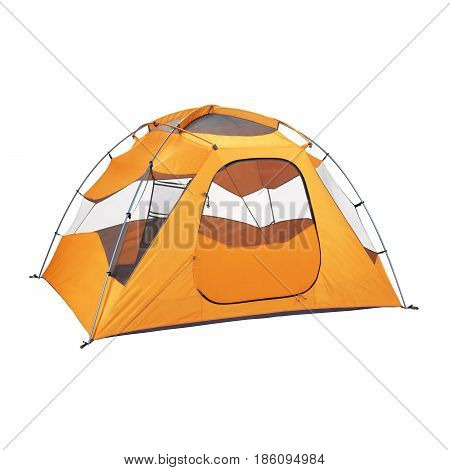 Camping Tent Isolated On White Background. Orange Dome Tent On Clipping Path. Camping Equipment