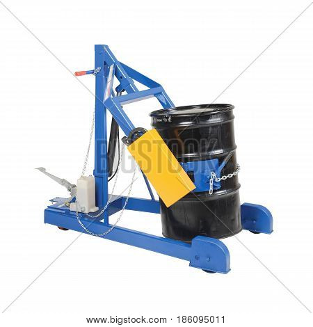 Hydraulic Drum Carrier And Lifter With Black Drum Isolated On White Background. Black Gold. Metal Oi
