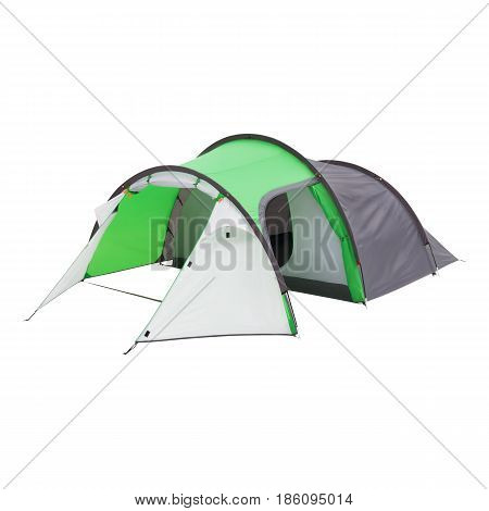 Camping Tent Isolated On White Background. Orange Dome Tent On Clipping Path. Person Tent. Alpine Te