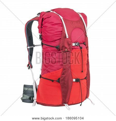 Rucksack Isolated On White Background. Trekking Rucksack. Travel Backpack. Climbing Bag. Bouldering