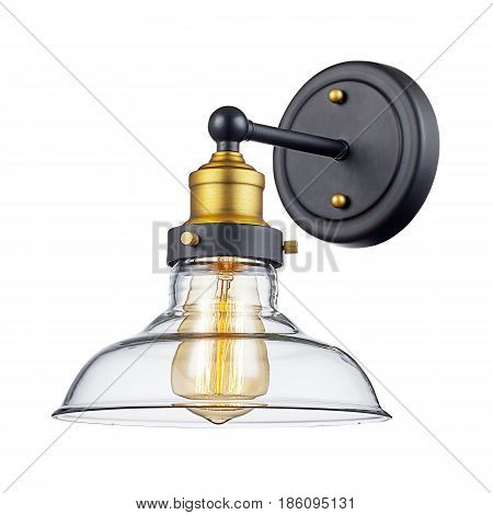 Sconce Isolated on White Background. Light Fixture with LED Bulb poster