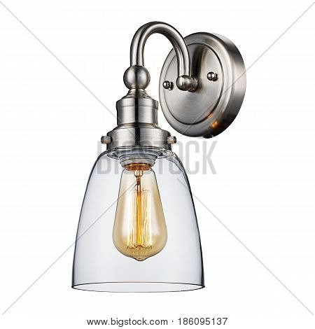 Sconce Isolated On White Background. Brushed Nickel Light Fixture With Led Bulb