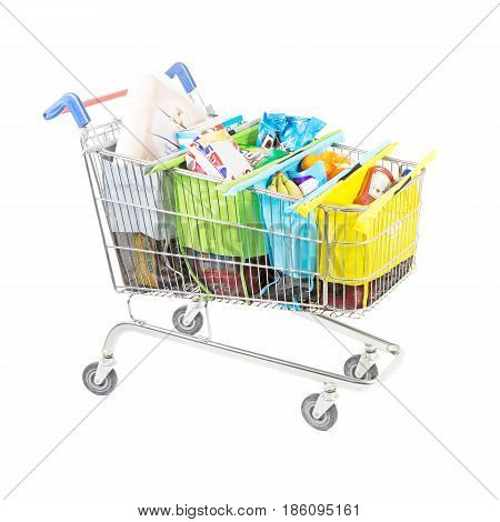 Shopping Cart With Groceries Isolated On White Background. Supermarket Trolley. Side View Of Superma