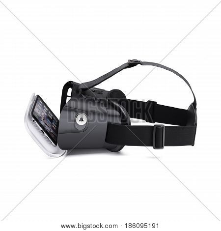 Virtual Reality Headset Isolated On White Background. Vr Headset. Video Game 3D Glasses