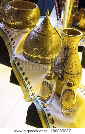 Istanbul, Turkey - May 10, 2017: Artefacts in Hagia Sophia,  Istanbul, Turkey. Hagia Sophia is the greatest monument of Byzantine Culture.