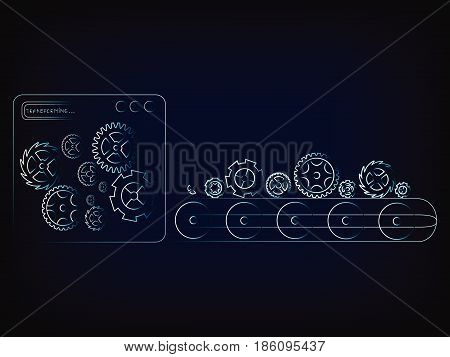 gearwheel production line factory machine (vector illustration with neon effect on mesh background)