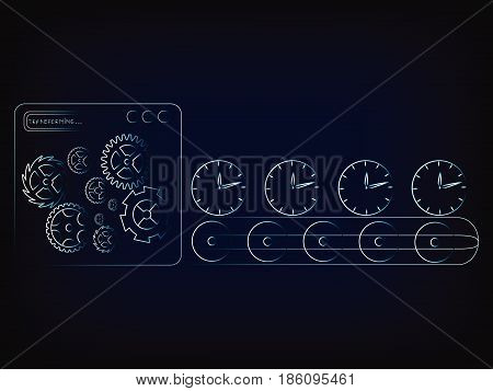 time factory production line machine with gearwheel mechanism and clocks (vector illustration with neon effect on mesh background)