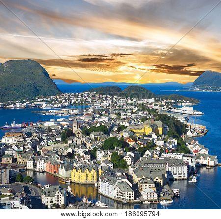 Alesund, Norway - panoramic view on center of cruise port Alesund in Norwegian fjords.