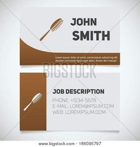 Business card print template with hairbrush logo. Hairdresser. Stationery design concept. Vector illustration