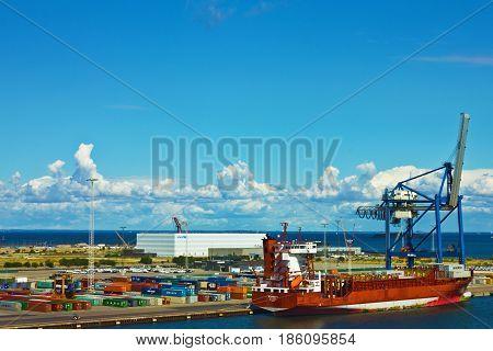 Copenhagen, Denmark - May 7, 2017: Container terminal in Copenhagen sea port