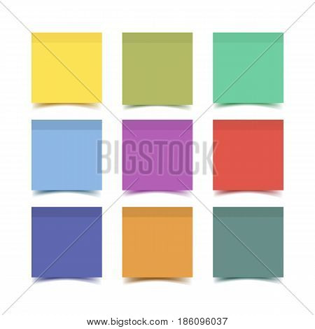 Big collection of Sticky note paper pieces with shadow isolated on white background. Realistic vector illustration of post it notes.