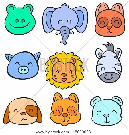 Collection stock animal hand draw doodles vector illustration
