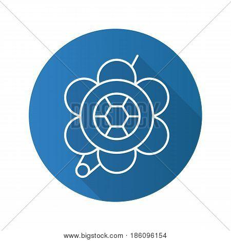 Brooch flat linear long shadow icon. Flower shape brooch. Vector line symbol