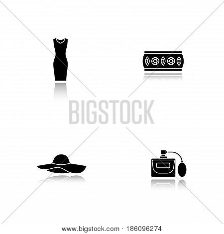 Women's accessories drop shadow black icons set. Sleeveless evening dress, metal bracelet, hat, perfume. Isolated vector illustrations