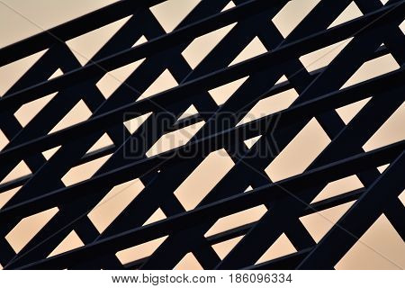 Steel roof structure of the house,Silhouette image.