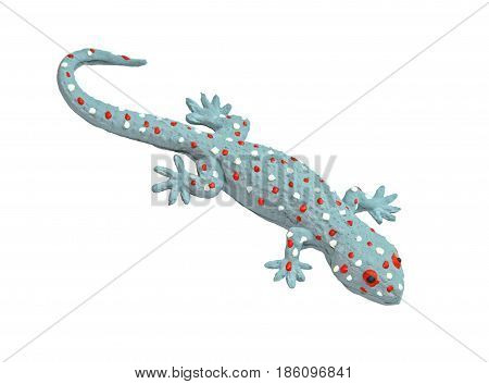 Grey gecko toy isolated on white background