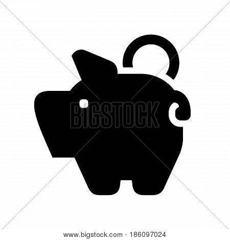 piggy bank black icon isolated on white background
