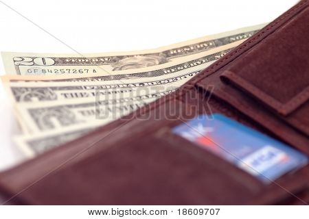 Wallet with cards and US dollars isolated on white background