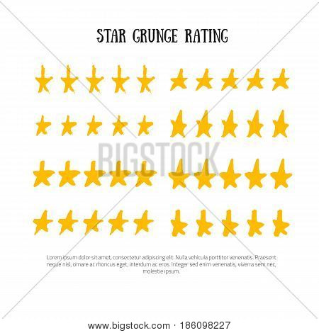 Grunge rating 5 star rating icon set vector illustration. Isolated success ranking in row for website or app hand drawn in grunge style.