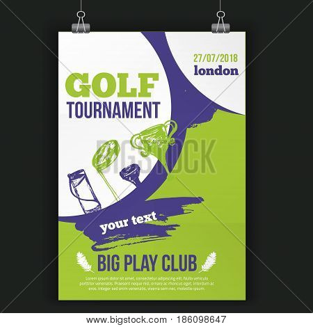 Golf flyer vector illustration. Tournament design invitation with hand drawn grunge elements. Easy to edit for your promotion.