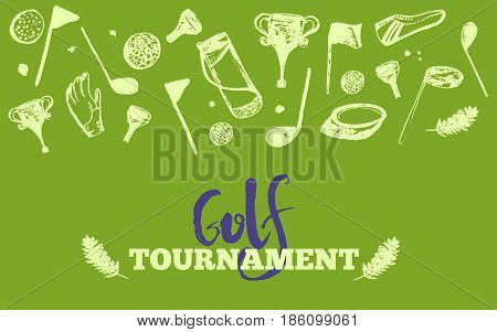 Grunge Golf club Tournament site header template. Poster or banner vector design