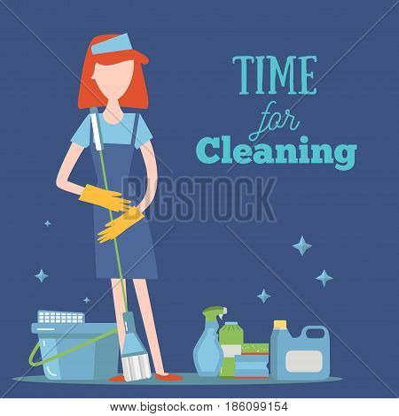 Young Girl With Cleaning Supplies concept illustration. Housework cleaner with professional washing items for your design.