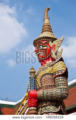 A big giant statue in thai temple