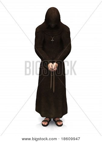 3d render of a christian monk with his head bowed contemplating. White background. poster