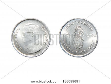 Five baht coin Thailand currency isolated on white background.
