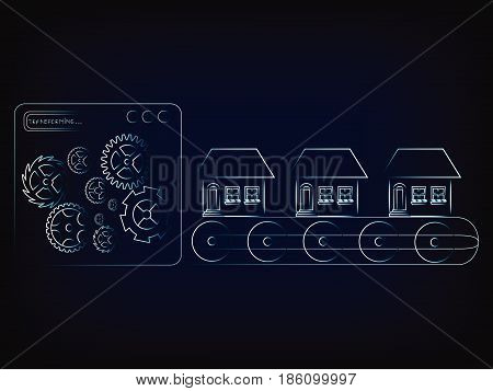 house production line factory machine with gearwheel mechanism (vector illustration with neon effect on mesh background)