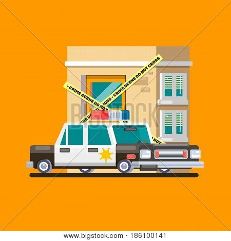 Police car patrol image Flat vector illustration design