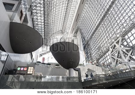 Kyoto, Japan - March 2016: Interior Of Futurist Design Of Modern Japanese Architecture Of Kyoto Stat