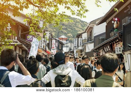 Kyoto, Japan - March 2016: Large Crowd Scene At Matsubara Dori, Popular Shopping Street On The Way T