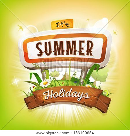 Illustration of a flashy design summer holidays poster with road panel country landscapegrass and flowers fields and trees flying swallows and wood banner