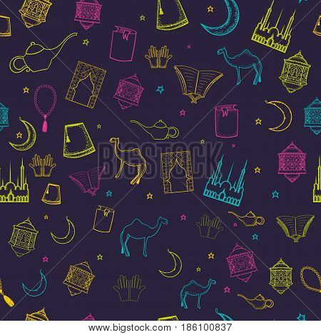 Colorful ramadan seamless pattern with islamic culture icons in sketch style for your design on dark background.