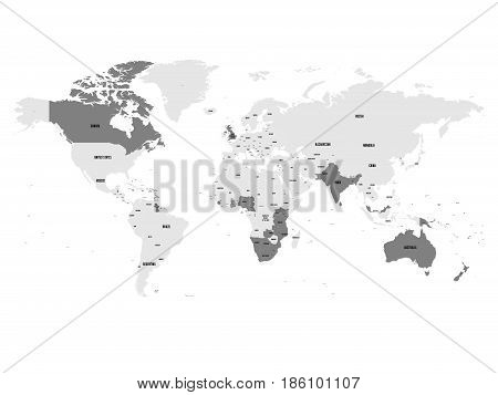 Member states of the British Commonwealth blue highlighted in the world map. Vector illustration.