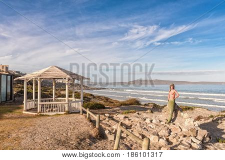 LANGEBAAN SOUTH AFRICA - APRIL 1 2017: A mermaid and a gazebo at Boesmanland Plaaskombuis a restaurant at Mykonos in Langebaan a town on the Atlantic Coast of the Western Cape Province