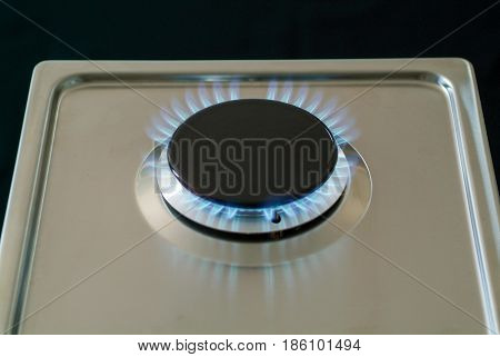 Gas Burning From A Kitchen