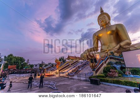 ANGTHONG THAILAND - NOVEMBER 19 2016: Angthong local government in hold mourning ceremony for tha passing of Hisd Majesty King Bhumibol Adulyadej at Watmoung temple in Angthong.