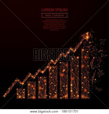 Abstract mash line and pointgrowth chart in flames style on dark background with an inscription. Starry sky or space, consisting of stars and the universe. Vector illustration