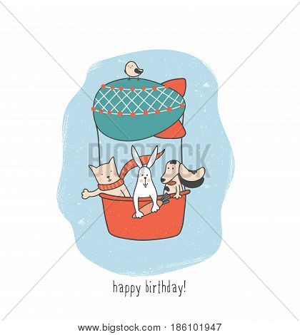 cute vector illustration with funny animals traveling in an airship birthday greeting card template for children
