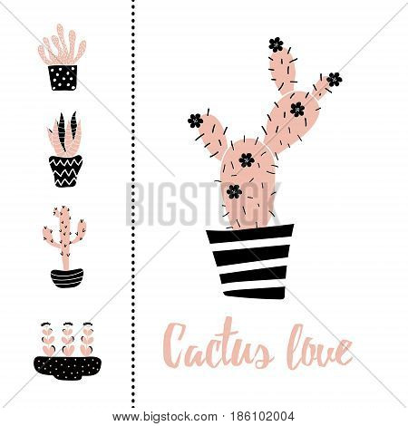 vetor set of illustration of cacti and Cactus love text