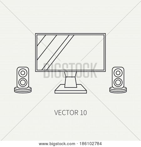 Line flat vector computer part icon lcd video monitor. Cartoon style. Digital gaming and business office pc desktop device. Innovation gadget. Speakers. Illustration and element for design, wallpaper.