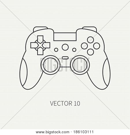Line flat vector computer part icon joystick. Cartoon style. Digital gaming and business office pc desktop device. Innovation gadget. Console gamepad. Illustration and element for design, wallpaper.