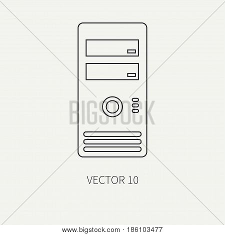 Line flat vector computer part icon housing body. Cartoon style. Digital gaming and business office pc desktop device. Innovation gadget. Hardware. Shell. Illustration and element for design wallpaper