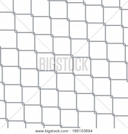 Chain Link Fence Background. Industrial Style Wallpaper. Realistic Geometric Texture. Steel Wire Wall Vector